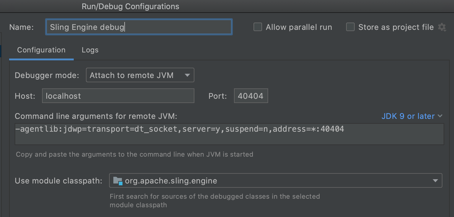 Configure the new debug config