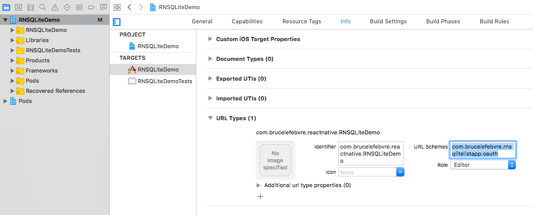 Xcode properties page for handling deep links