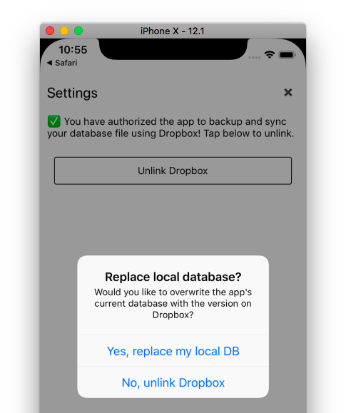 Prompt on-device to see if the user would like to replace their local DB with the Dropbox copy